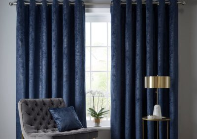 Navarra Indigo Eyelet Curtains (ready made)